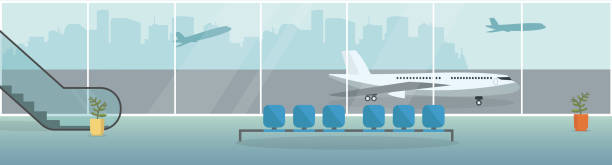 Airport terminal background. Waiting hall interior with the airplanes outside the window. Departure lounge with chairs and escalator. Vector illustration. Airport waiting room horizontal Banner. Airport terminal background. Waiting hall interior with the airplanes outside the window. Departure lounge with chairs and escalator. Vector illustration. airport backgrounds stock illustrations