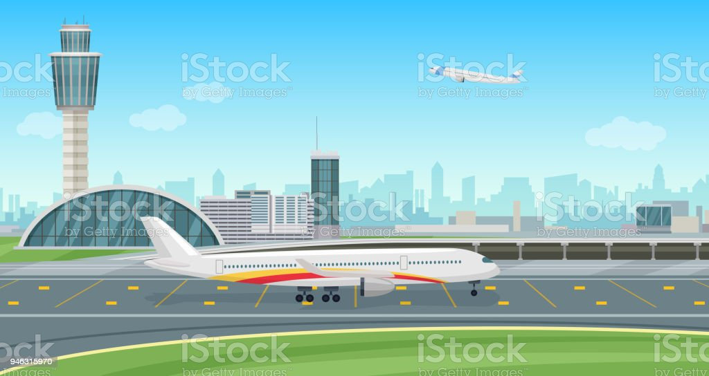 Airport Terminal building with aircraft taking off. Vector airport landscape. vector art illustration