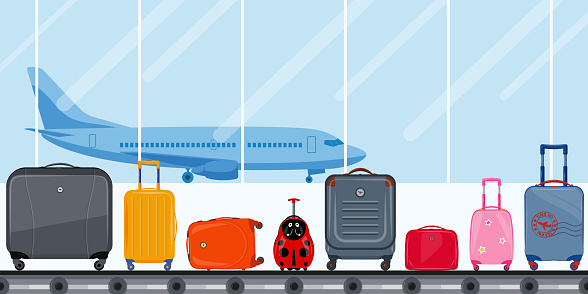 Airport terminal. Conveyor belt with passenger luggage and airplane. Airport baggage belt, luggage for travel, suitcases.