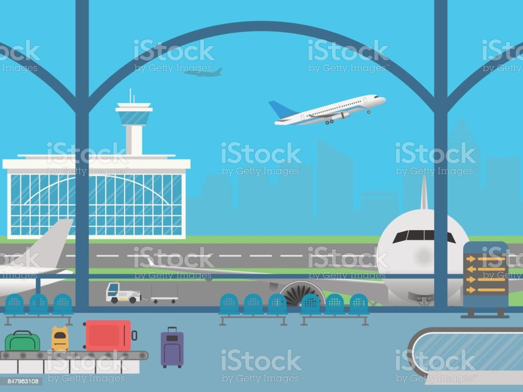 Airport terminal. Field with airplanes vector art illustration