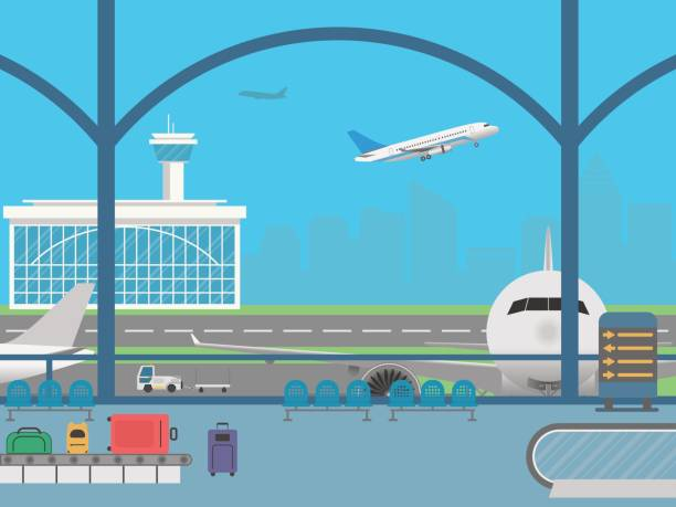 Airport terminal. Field with airplanes Airport terminal. Waiting room. Field with airplanes airport backgrounds stock illustrations