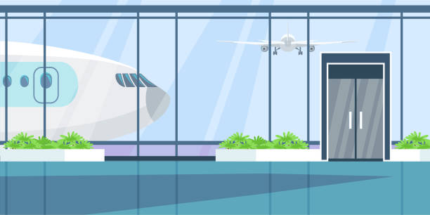 Airport terminal flat illustration Airport terminal flat illustration. Wait hall interior color drawing. Monitors with timetable, arrival schedule. Airline industry. International travel, tourism, transportation business airport backgrounds stock illustrations