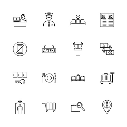 Airport Terminal - Flat Vector Icons