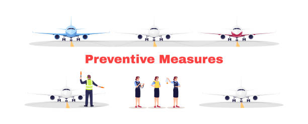 Airport terminal flat vector illustrations set Airport terminal flat vector illustrations set. Preventive measures for flight transportation. Safety rules for airplane during virus pandemic. Aircraft staff isolated cartoon characters kit airport clipart stock illustrations