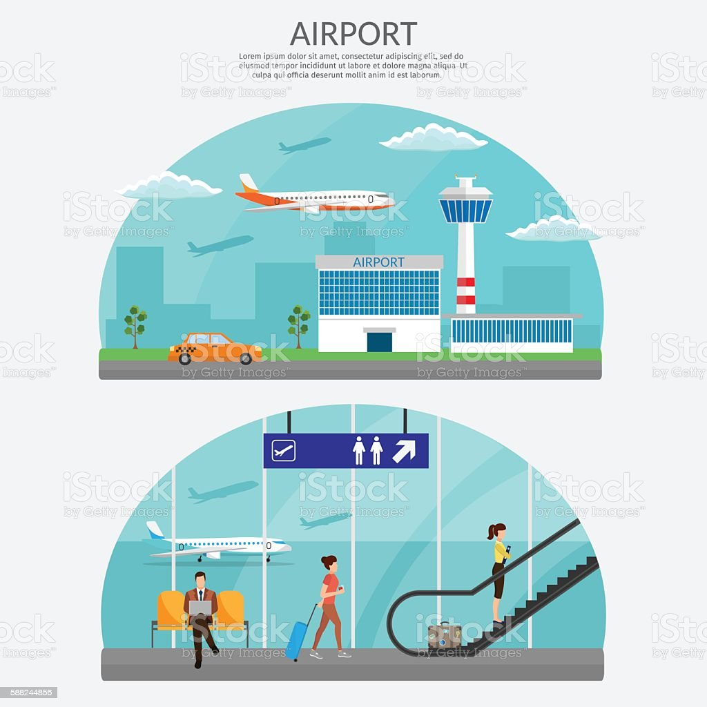 Airport terminal illustration set vector art illustration