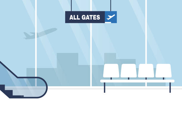 Airport terminal. Interior. No people. Waiting area. All gates. Boarding. Flat editable vector illustration, clip art Airport terminal. Interior. No people. Waiting area. All gates. Boarding. Flat editable vector illustration, clip art airport backgrounds stock illustrations