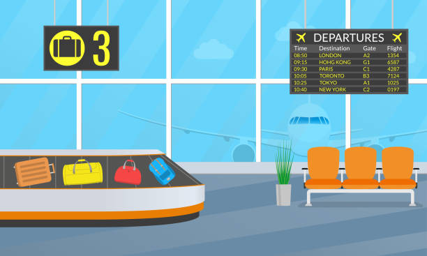 Airport terminal interior with chairs, departure board and conveyor belt for luggage or baggage carousel. Vector illustration. Airport terminal interior with chairs, departure board and conveyor belt for luggage or baggage carousel. Vector illustration. airport backgrounds stock illustrations