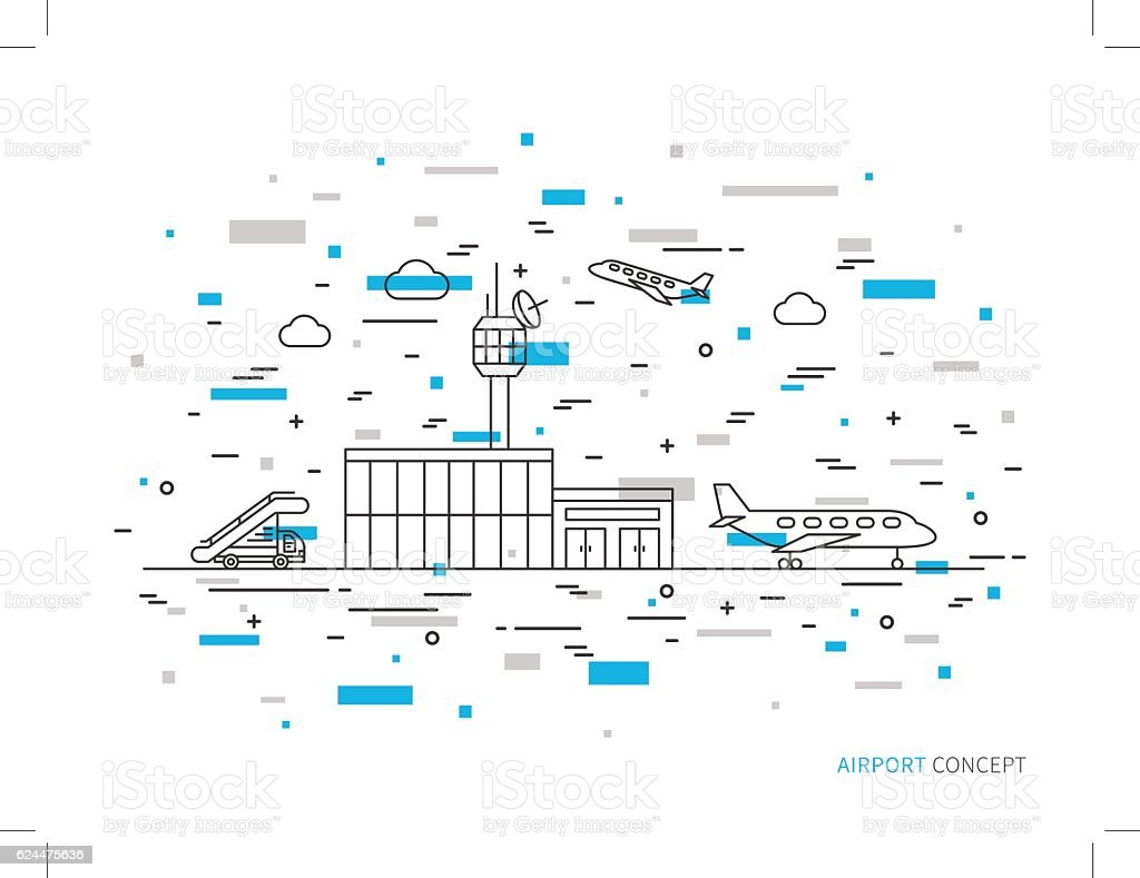 Airport terminal, plane, transportation linear vector illustration vector art illustration