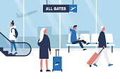 Airport terminal. Seating, Standing and walking characters holding their suitcases. Waiting area. All gates. Boarding. Flat editable vector illustration, clip art