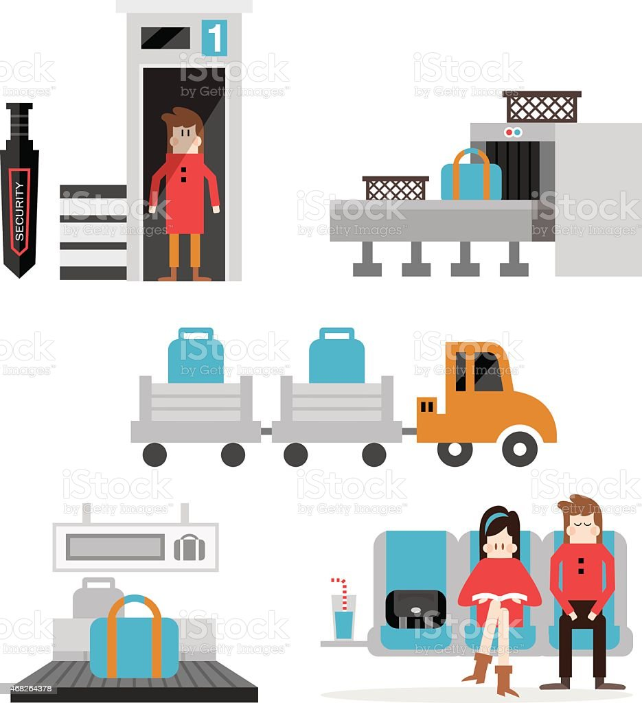 Airport terminal service set A vector art illustration