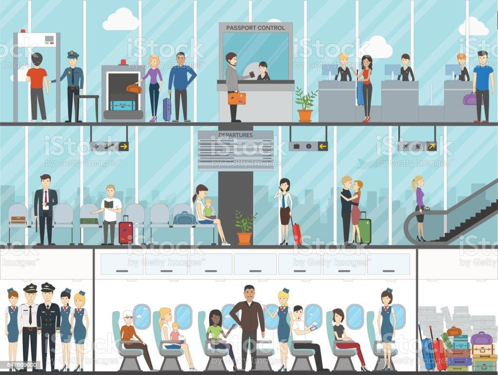 Airport terminal set. vector art illustration