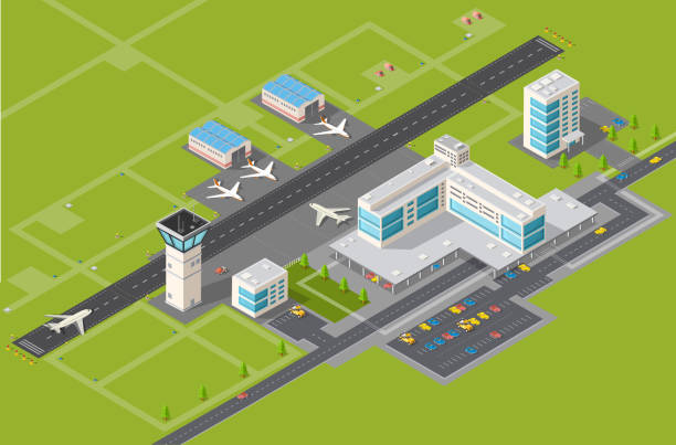 Airport terminal Airport terminal for arrival and departure of aircraft and passengers traveling airport stock illustrations