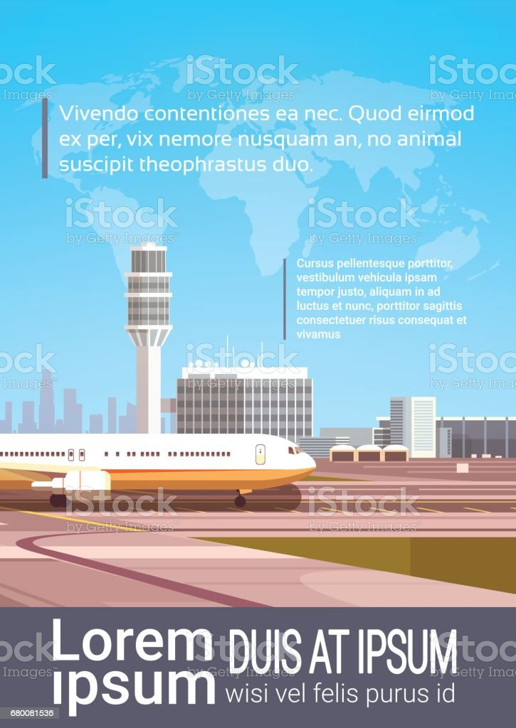 Airport Terminal With Aircraft Flying Plane Taking Off vector art illustration