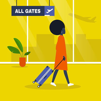 Airport terminal. Young black female character walking with a suitcase. Waiting area. All gates. Boarding. Flat editable vector illustration, clip art
