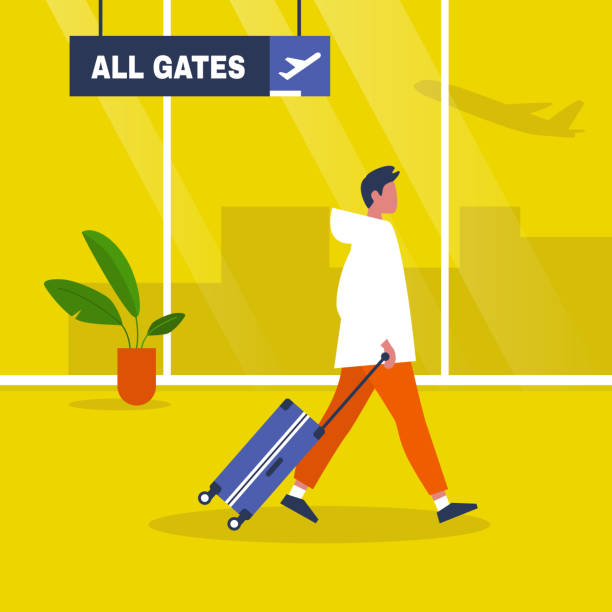 Airport terminal. Young male character walking with a suitcase. Waiting area. All gates. Boarding. Flat editable vector illustration, clip art Airport terminal. Young male character walking with a suitcase. Waiting area. All gates. Boarding. Flat editable vector illustration, clip art airport backgrounds stock illustrations