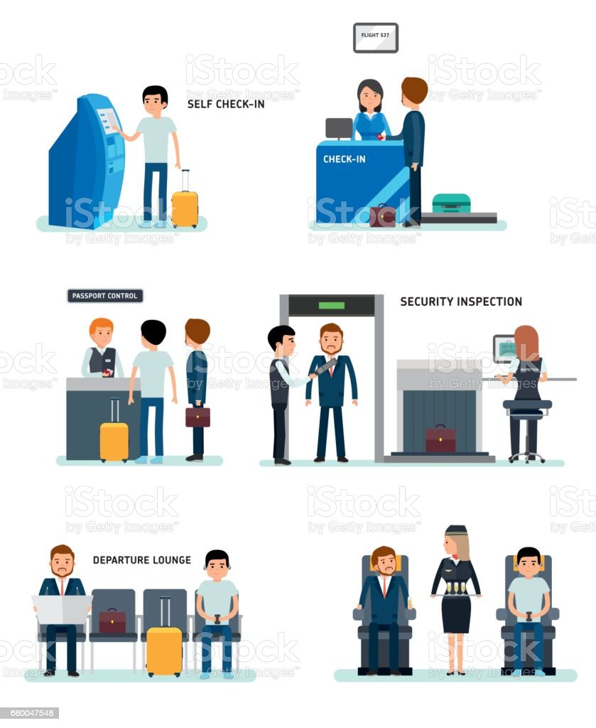 Airport terminals set with charts and other elements. vector art illustration