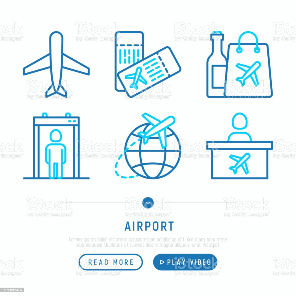 Airport thin line icons set: airplane, boarding pass, duty free, customs, check-in counter. Vector illustration, web page template. vector art illustration