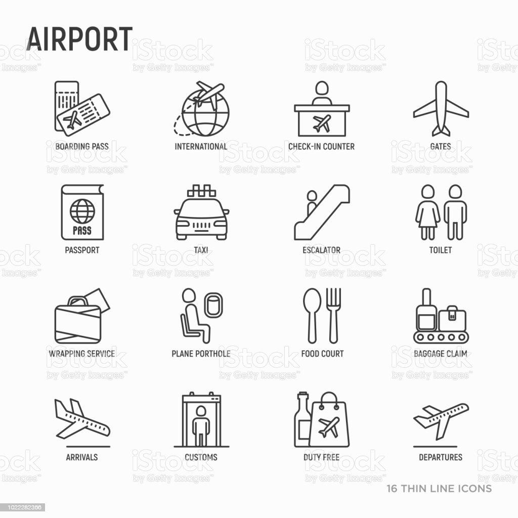 Flygplats tunn linje ikoner set: incheckning counter, grindar, ombordstigning passera, rulltrappa, toalett, restaurangtorg, bagageutlämning, inslagning service, tullfritt, tullen. Vektorillustration. vektorkonstillustration