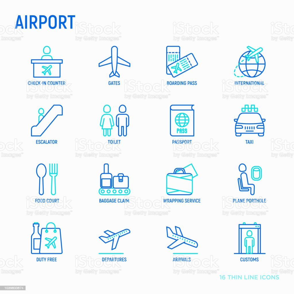 Airport thin line icons set: check-in counter, gates, boarding pass, escalator, toilet, food court, baggage claim, wrapping service, duty free, departures, arrivals, customs. Vector illustration. vector art illustration
