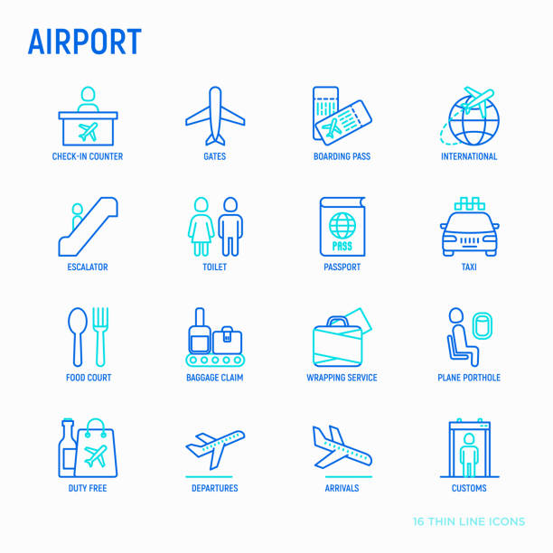 Airport thin line icons set: check-in counter, gates, boarding pass, escalator, toilet, food court, baggage claim, wrapping service, duty free, departures, arrivals, customs. Vector illustration. Airport thin line icons set: check-in counter, gates, boarding pass, escalator, toilet, food court, baggage claim, wrapping service, duty free, departures, arrivals, customs. Vector illustration. airport icons stock illustrations