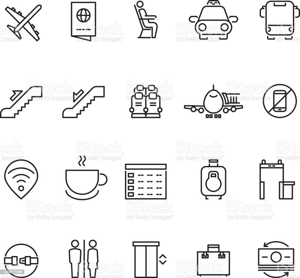 Airport thin line vector icons vector art illustration