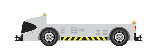 bildbanksillustrationer, clip art samt tecknat material och ikoner med flygplats tow lastbil vektor - traktor pulling