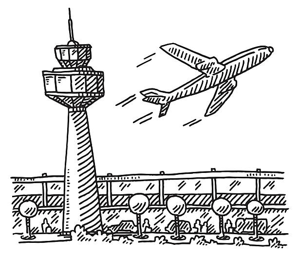 Airport Tower Building Airplane Drawing Hand-drawn vector drawing of an Airport with Tower, Main Building and a departing Airplane. Black-and-White sketch on a transparent background (.eps-file). Included files are EPS (v10) and Hi-Res JPG. airport drawings stock illustrations
