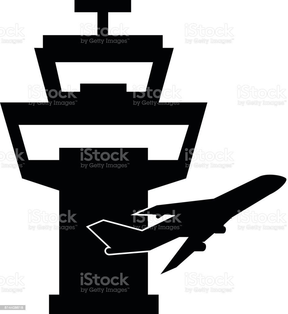 Airport Traffic Control Tower Single Icon vector art illustration