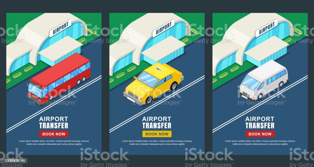 Airport Transfer Vector Isometric 3d Illustration Banner Poster