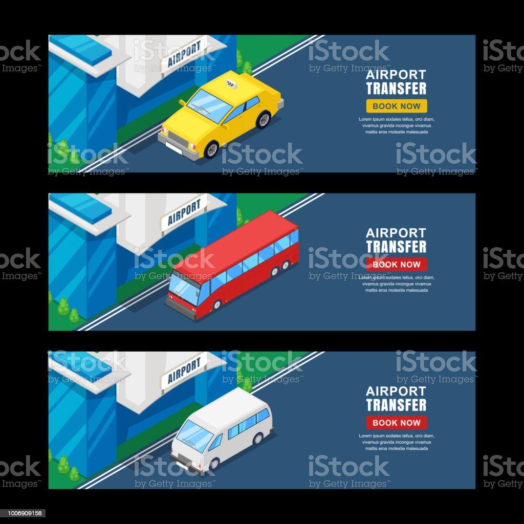 Airport Transfer Vector Isometric 3d Illustration Horizontal Banner