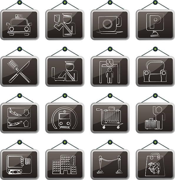 Flughafen, Reise und Transport Symbole – Vektorgrafik