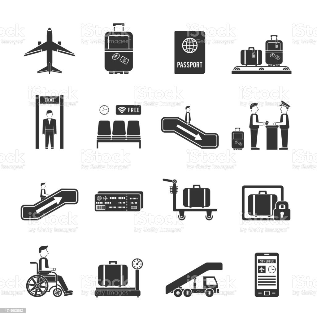 Airport travel icons vector art illustration