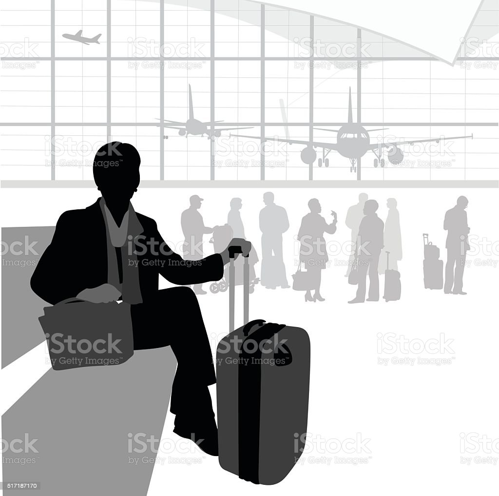 Airport Traveller Waiting vector art illustration