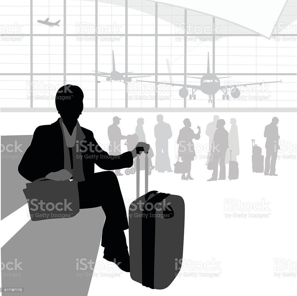 Airport Traveller Waiting vector art illustration