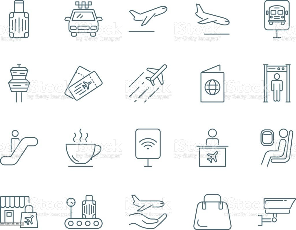 Airport vector icons set