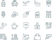 Airport set of vector icons, linear style