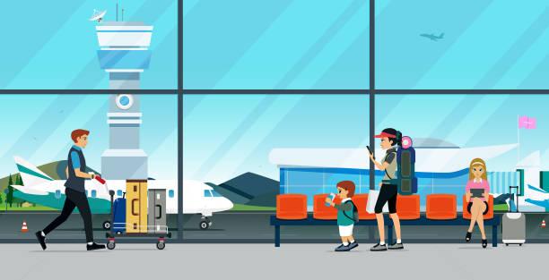 illustrations, cliparts, dessins animés et icônes de l'aéroport - terminal aéroportuaire