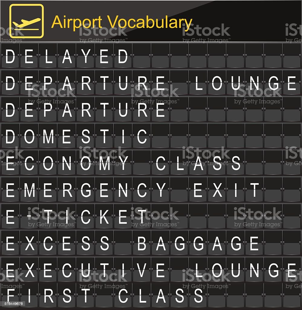 Airport Vocabulary on airport boarding vector art illustration