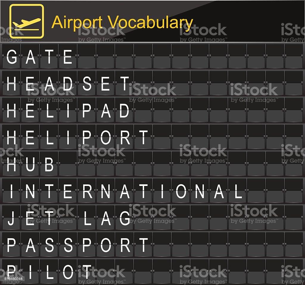 Flughafen Wortschatz am Flughafen einsteigen – Vektorgrafik