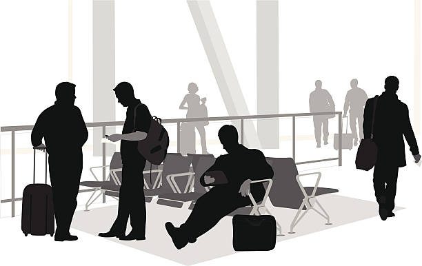 Airport Wait A-Digit  airport silhouettes stock illustrations