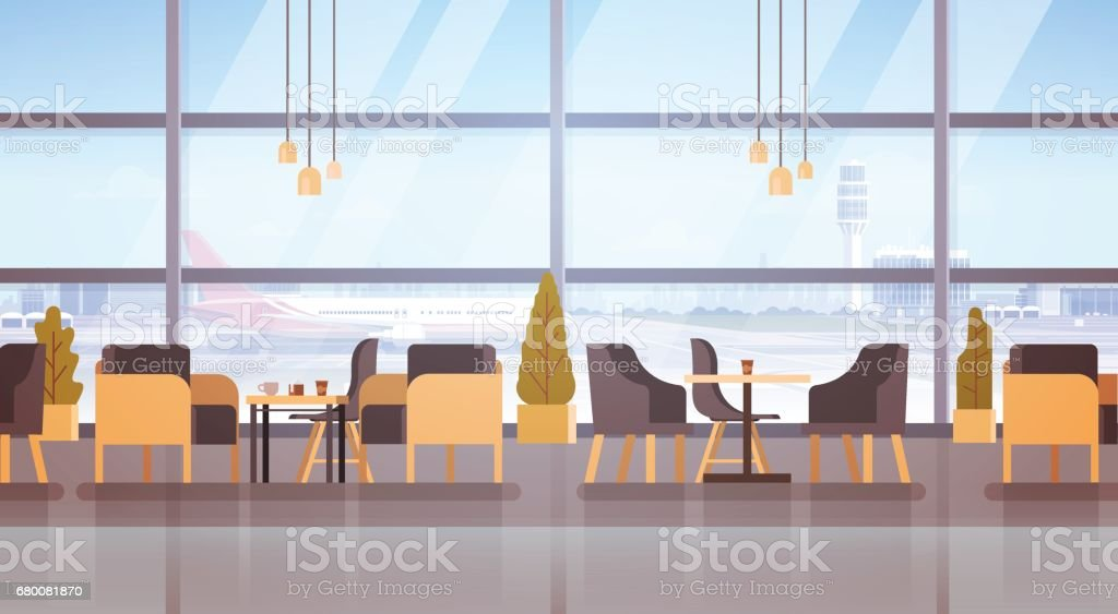Airport Waiting Hall Departure Terminal Interior Check In vector art illustration