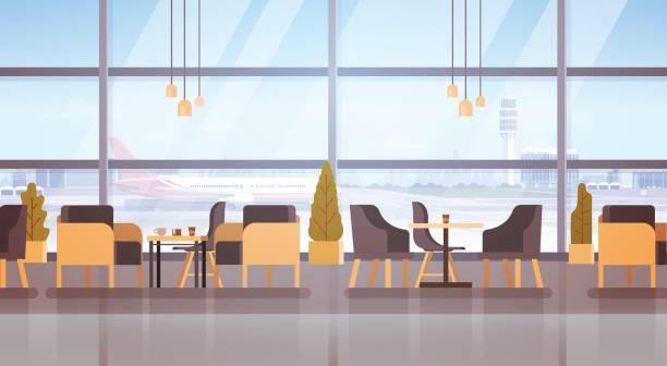 bildbanksillustrationer, clip art samt tecknat material och ikoner med flygplats väntar avresa terminal hallinteriör incheckning - lounge