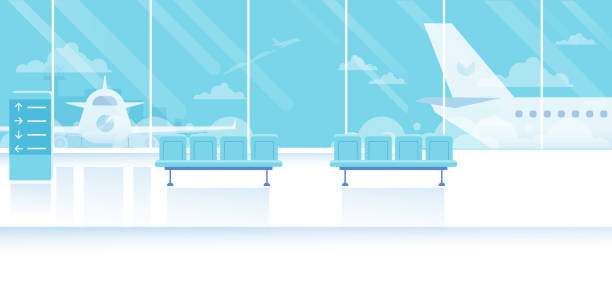 Airport waiting room horizontal Banner. Travel Concept. Flat Vector Illustration. airport stock illustrations