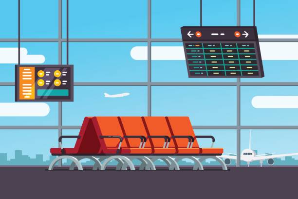 Airport waiting room or departure lounge Airport waiting room, departure lounge with chairs, information panels with departures, arrivals schedule. Terminal hall with window airfield view on airplanes. Flat style vector isolated illustration airport clipart stock illustrations