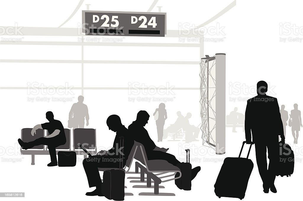 Airport Waits Vector Silhouette royalty-free stock vector art