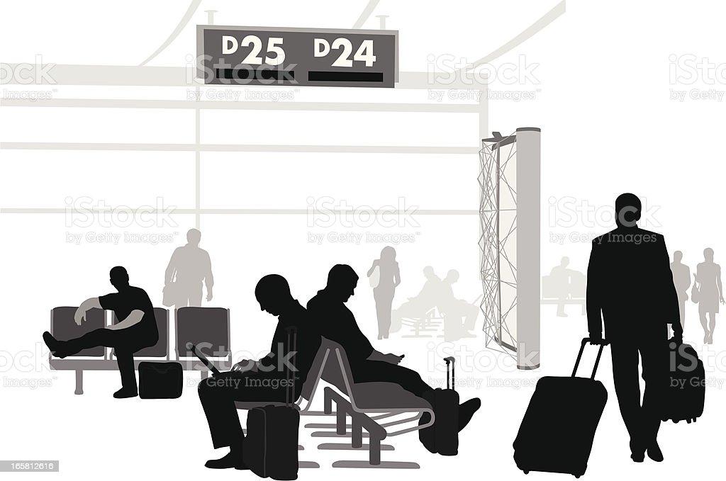 Airport Waits Vector Silhouette vector art illustration