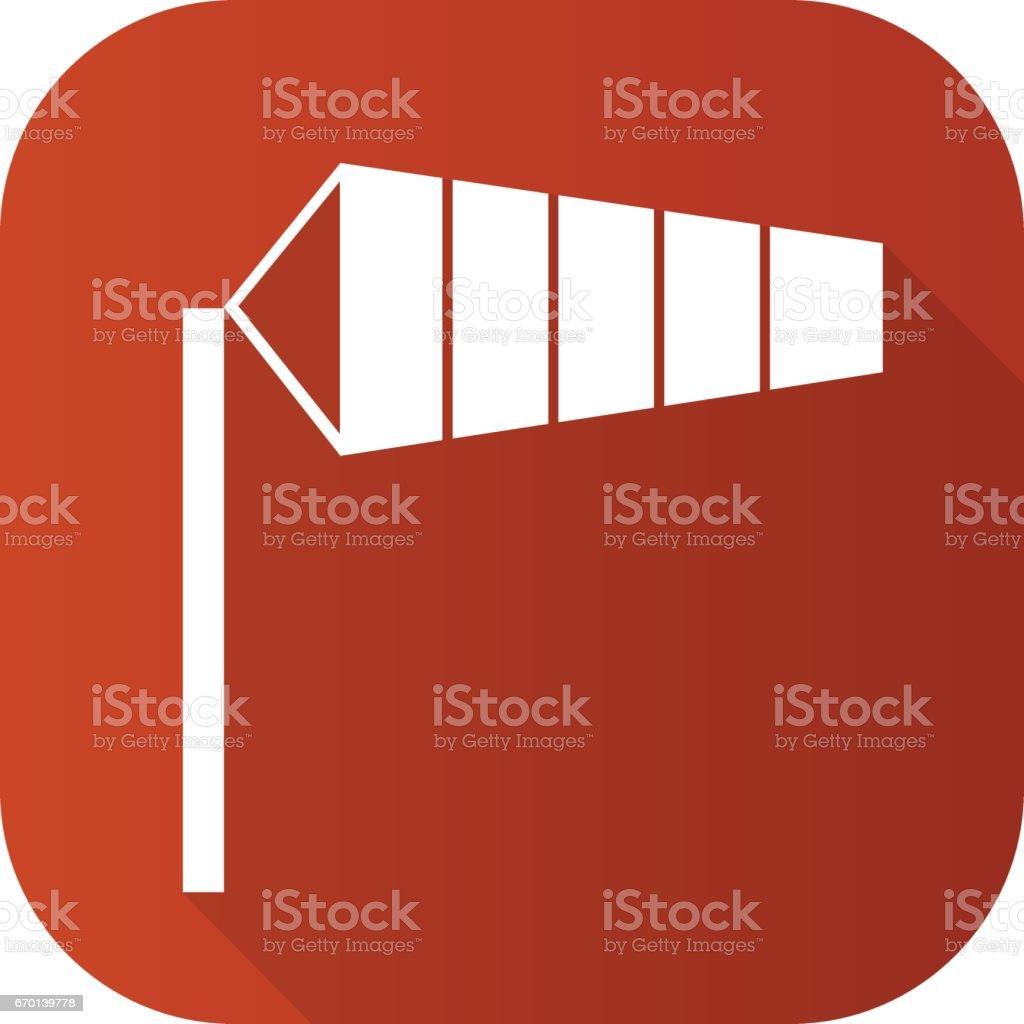 Ícone de longa sombra design plano biruta aeroporto. Símbolo de silhueta vector. - ilustração de arte em vetor