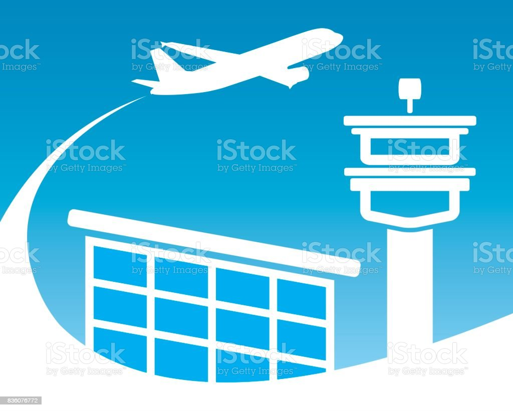 airport with airplane icon vector art illustration