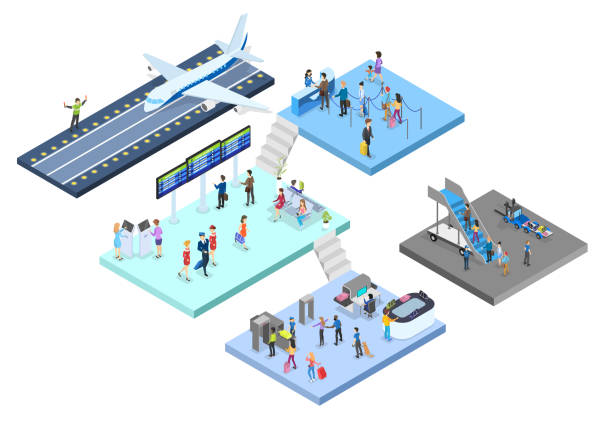 Airport with passenger set. Check-in and security vector art illustration