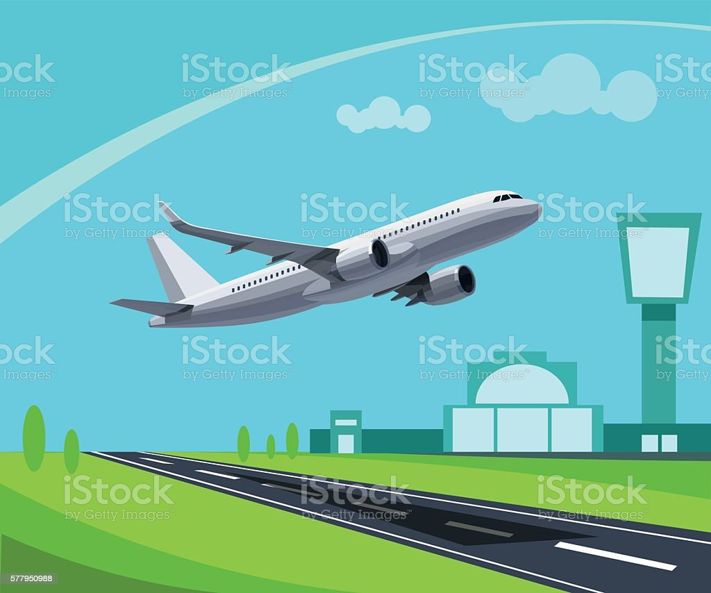 Airport with Runway and flying Plane Concept Illustration vector art illustration